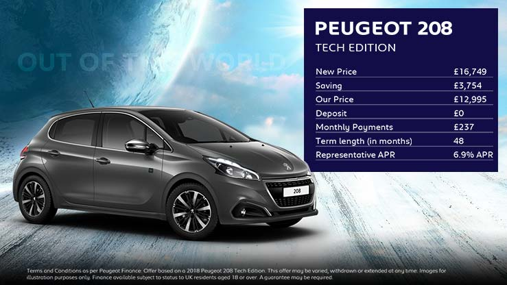 208 Tech Edition · £237 per month with NO deposit
