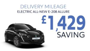 Delivery Mileage Savings: Black All-Electric e-208 Allure