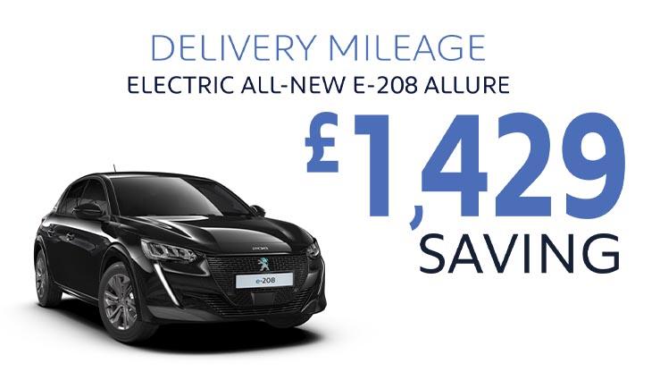 Delivery Mileage Savings: Black All-Electric e-208 Allure