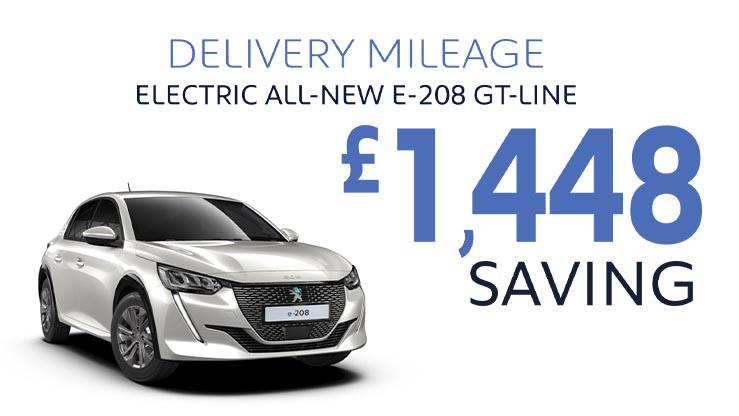 Delivery Mileage Savings: Pearl White e-208 GT-Line